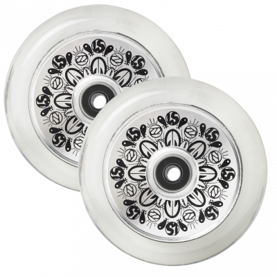 Колеса д/сам. Fuzion Leo Spencer Sig Wheel (pair) - Silver Core / Clear PU